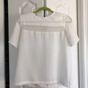 White chiffon top with zipper back illusion panel